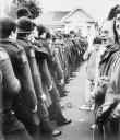 Springbok Tour protestors face police in Palmerston North, New Zealand.