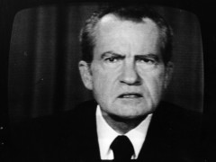 The 37th President of the United States, Richard Nixon, on a television screen. (Photo by Keystone/Getty Images)
